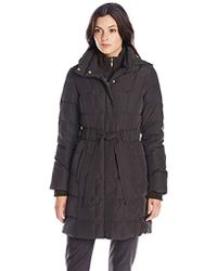 1dd95be4f8d Ellen Tracy - Outerwear Mid Length Hooded Down Coat With Cable Knit Trim -  Lyst
