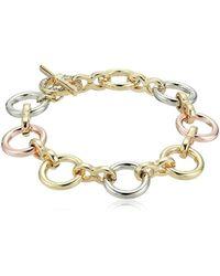 Kenneth Cole - Kenneth Cole New Trinity Rings Tri-tone Link Bracelet - Lyst