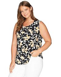 Kasper - Plus Sleeveless Two Tone Floral Print Framed Keyhole Ity Top - Lyst