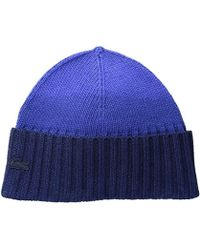 e8b75db14bd Lyst - Lacoste Green Croc Ribbed Wool Knit Beanie in Blue