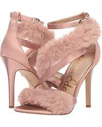 b7007e002f18 Lyst - Sam Edelman Adelle Faux Fur Ankle Strap High-heel Sandals in ...