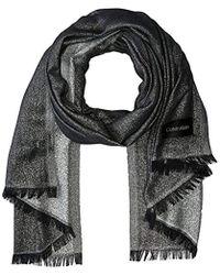 Lyst - Calvin Klein Allover Lurex Grid Blanket Scarf in Gray ff053a3484a