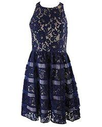 Aidan By Aidan Mattox - Lace Shadow Stripe Dress - Lyst