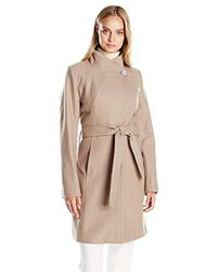 T Tahari - Isabelle Asymmentrical Wool Coal With Belt - Lyst
