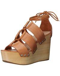 6af982472fc3 Lyst - Donald J Pliner Ines Leather Wedge Sandal in Brown