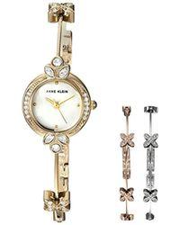 Anne Klein - Swarovski Crystal Accented Gold-tone Watch And Bangle Bracelet Set - Lyst