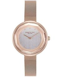 Kenneth Cole - Quartz Stainless Steel And Leather Casual Watch, Color:beige (model: Kc50189003) - Lyst
