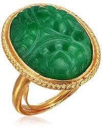 Kenneth Jay Lane - S Satin Gold/carved Jade Center Oval Adjustable Ring - Lyst