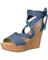 3a23d565c8a Lyst - Kenneth Cole Reaction Cedar Leader Wedge Sandals in Purple