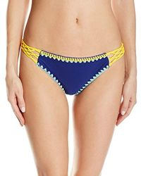 381a952c26 Jessica Simpson - Woodstock Whipstitch Side Braided Hipster Bikini Bottom -  Lyst