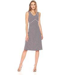 Jones New York - Island Stripe Slvless 'v'nk Dress - Lyst