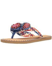 94c8d3fa7b23 Lyst - Kate Spade Idette Pompom Woven Flat Sandal in Blue