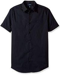 Armani Jeans - Slim Fit Stretch Poplin Short Sleeve Button Down Shirt - Lyst