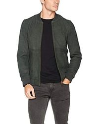 Scotch & Soda - Leather Bomber Jacket With Cut & Sewn Styling - Lyst