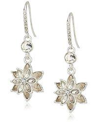 Anne Klein - Silver Tone Flower Threader Drop Earrings - Lyst