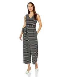 eeff3fa688 Calvin Klein - Sleeveless V Neck Cropped Jumpsuit With Self Belt - Lyst