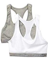 0df192c1fa3 Lyst - Calvin Klein Retro Logo High Neck Bra in Gray