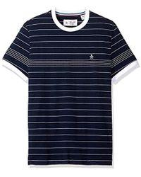 30491dc1b3 Original Penguin - Short Sleeve Slim Fit Engineered Fine Stripe Tee - Lyst