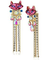 Betsey Johnson - S Granny Chic Bright Pink Cat Stone And Chain Front Back Earring Jacket, Multi, One Size - Lyst