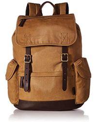 Fossil - Defender Leather Trim Rucksack Backpack - Lyst