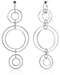 Noir Jewelry - Clio Wireframe Rhodium Drop Earrings - Lyst