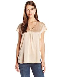 16bcd8450fc90d Lyst - Vince Band Collar Blouse in Natural