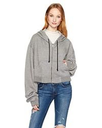 Hudson Jeans - Oversized Zip Crop Hoodie - Lyst