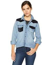 14dab396b913 Lucky Brand - Remade Denim Button Up Western Shirt - Lyst