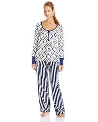 Betsey Johnson - Packaged Ribbed Top With Flannel Pant Two-piece Pajama Set - Lyst