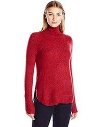 Lark & Ro - Rounded-hem Funnel Neck Sweater - Lyst