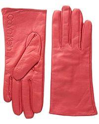 Calvin Klein - Leather/suede Gloves W/debossed Logo - Lyst