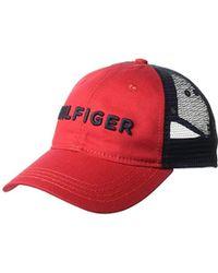 2f915bd0cae Lyst - Tommy Hilfiger Dad Hat Hilfiger Trucker Cap in Blue for Men