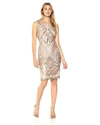 Ivanka Trump - Champagne Embellished Sheath Dress - Lyst