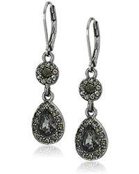 Napier - Double Drop Earrings, Hematite Jet - Lyst