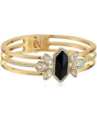 Guess - Jet Stone Cluster Hinge Cuff Bracelet - Lyst