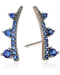 Tai - Blue Pave Climber Earrings - Lyst