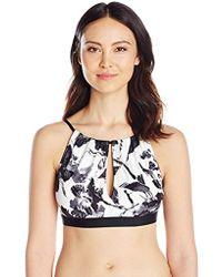 Carmen Marc Valvo - High Neck Bikini Top Swimsuit With Key Hole Detail - Lyst