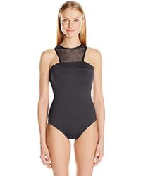 f36addd8b2 Carmen Marc Valvo - High Neck One Piece Swimsuit With Mesh Front - Lyst