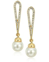 Anne Klein - Gold-tone Pearl And Crystal Drop Earrings - Lyst