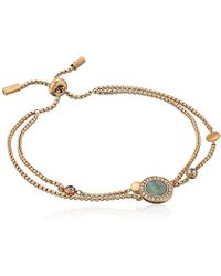 Fossil - S Grey Mother-of-pearl And Rose Gold Multi-strand Slider Closure Bracelet - Lyst