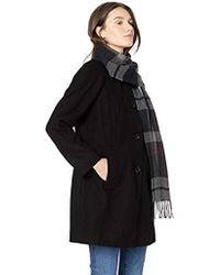 51dcdeed346 London Fog - Raglan Thigh Length Button Front Wool Coat With Scarf - Lyst