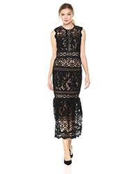 00f466343a9 ML Monique Lhuillier Lace Tea Length Dress in Black - Lyst