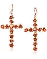 Betsey Johnson - Rose And Skull Cross Drop Earrings, Rose Gold - Lyst