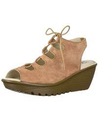 93e29a86398d Skechers - Parallel Peep Toe Ghillie Slingback Wedge Sandal - Lyst