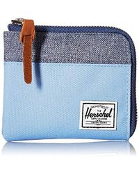 Herschel Supply Co. - Unisex-adults Johnny Rfid Blocking Zipper Wallet, Hydrangea/dark Chambray Crosshatch, One Size - Lyst