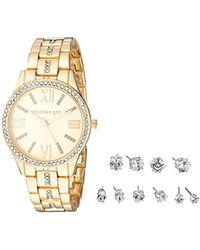 Steve Madden - Madden Girl Stone Bracelet Watch And Stud Earrings Set Smgs021 - Lyst