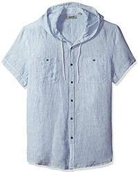 Kenneth Cole Reaction - Short Sleeve Hood Mini Stripe Woven Shirt - Lyst