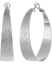 BCBGeneration - Bcbg Generation Silver Textured Hoop Earrings, One Size - Lyst