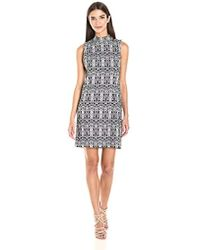 Kensie - Aztec Print Stretch Shift Dress - Lyst