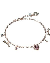 Betsey Johnson - S Fuchsia And Rose Gold Heart Anklet - Lyst